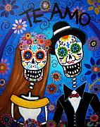 Day Of The Dead Painting Posters - Wedding Couple  Poster by Pristine Cartera Turkus