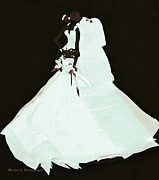 White Tapestries - Textiles Posters - Wedding Couple Poster by Ruth Ash
