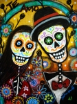 Folk Painting Framed Prints - Wedding Dia De Los Muertos Framed Print by Pristine Cartera Turkus