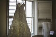 Strapless Dress Originals - Wedding Dress and Veil by the Window by Mike Hope
