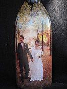Food And Beverage Glass Art Originals - Wedding Gift Hand Painted Wine Bottle With Your Photo  by Kris Crollard