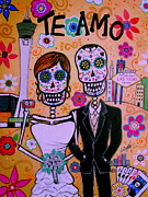 Las Vegas Artist Painting Framed Prints - Wedding In Vegas Dia De Los Muertos Framed Print by Pristine Cartera Turkus