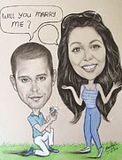 Napa Drawings Prints - Wedding Proposal Print by Anastasis  Anastasi