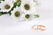 Engagement Prints - Wedding rings and flowers Print by Michal Bednarek