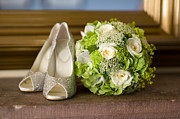 High Heeled Prints - Wedding Shoes And Flowers Bouquet Print by Lee Avison