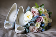 Sparkling Rose Posters - Wedding Shoes And Flowers Poster by Lee Avison
