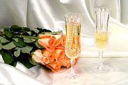 Champagne Glasses Framed Prints - Wedding toast Framed Print by Joe Belanger