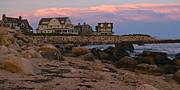 Atlantic Ocean Metal Prints - Weekapaug RI Sunset Panorama Metal Print by Anna Lisa Yoder