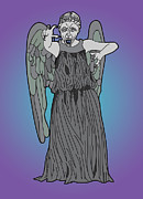 Dr. Who Digital Art Framed Prints - Weeping Angel Framed Print by Jera Sky