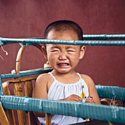 Chinese People Prints - Weeping Baby in his Buggy Print by Heiko Koehrer-Wagner