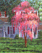 Suburbs Paintings - Weeping Cherry by the Veranda by Susan Savad