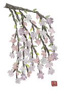 Weeping Cherry Hand-torn Newspaper Collage Art  Print by Keiko Suzuki