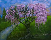 Cherry Blossoms Reliefs Originals - Weeping Cherry Tree by Joyce Fostini