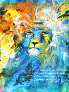 Scripture Pastels Posters - Weeping Lion of Judah Poster by Kim Layton