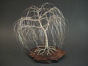 Wire Tree Sculpture Prints - Weeping Silver Willow Wire Tree Print by Ken Phillips