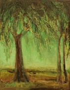Contemplative Paintings - Weeping Willow by Mary Wolf