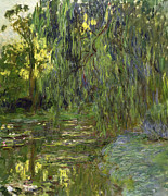 Garden Framed Prints - Weeping Willows The Waterlily Pond at Giverny Framed Print by Claude Monet