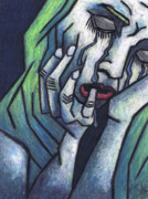 Oil Pastel Prints Pastels Framed Prints - Weeping Woman Framed Print by Kamil Swiatek