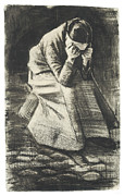 Woman Crying Prints - Weeping Woman Print by Vincent van Gogh