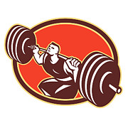 Fit Art - Weightlifter Lifting Barbells Cross-fit Retro by Aloysius Patrimonio