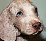 Puppies Digital Art Posters - Weimaraner Dog Art - Forgive Me Poster by Sharon Cummings