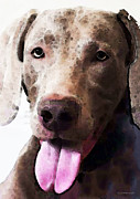 Weimaraner Posters - Weimaraner Dog Art - Happy Poster by Sharon Cummings