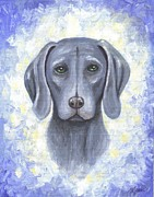Folk Art Paintings - Weimaraner Dog by Linda Mears
