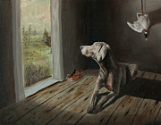 Hunting Cabin Painting Framed Prints - Weimaraner in a cabin Framed Print by Paul Francev