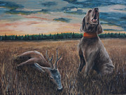 Sporting Art Originals - Weimaraner with a roe deer by Paul Francev