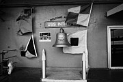 Manhaten Prints - Welcome aboard sign flags and USS Intrepid bell at the Intrepid Sea Air Space Museum Print by Joe Fox