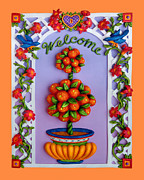 Blue Flowers Sculpture Posters - Welcome Poster by Amy Vangsgard