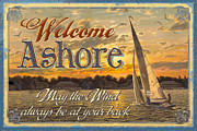 Rowing Painting Framed Prints - Welcome Ashore Sign Framed Print by JQ Licensing