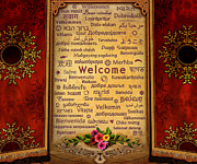 Red Leaves Mixed Media Posters - Welcome Poster by Bedros Awak