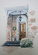 Historic Home Painting Prints - Welcome Christmas Print by Patsy Sharpe