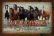 Domesticated Animals Prints - Welcome Friends Horses Print by JQ Licensing