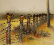 Old Fence Posts Painting Framed Prints - Welcome Framed Print by Joy Bradley                   DiNardo Designs