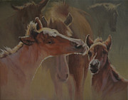 Salt River Wild Horses Paintings - Welcome Party by Mia DeLode