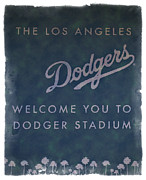 Baseball Art Print Framed Prints - Welcome To Dodgers Stadium - Impressions Framed Print by Ricky Barnard