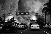 Old Town San Diego Photos - Welcome To Encinitas California 5D24221 black and white by Wingsdomain Art and Photography