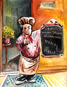 Italian Restaurant Drawings Prints - Welcome to Italy 02 Print by Miki De Goodaboom