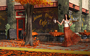 City Life Digital Art Prints - Welcome to the Autumn Blend Cafe Print by Daniel Eskridge
