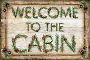 Rustic Metal Prints - Welcome to the cabin Metal Print by JQ Licensing