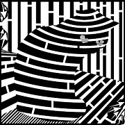 Maze Art Mixed Media Prints - Welcome To The Cat Side Maze Print by Yonatan Frimer Maze Artist