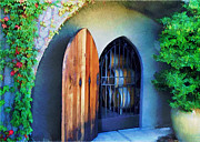 Sparkling Wine Digital Art Prints - Welcome to the Winery Print by Elaine Plesser