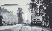 Pamela Gidle Painting Prints - Welcome to twin Peaks Print by Ludzska