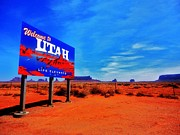 Road Trip Framed Prints - Welcome to Utah Framed Print by Benjamin Yeager