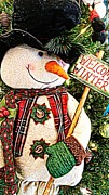 Plaid Scarf Posters - Welcome Winter Snowman Poster by Michelle Frizzell-Thompson