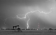 Storm Prints Photo Prints - Weld County Dacona Oil Fields Lightning Thunderstorm BWSC Print by James Bo Insogna