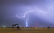 Pumpjack Posters - Weld County Dacona Oil Fields Lightning Thunderstorm Poster by James Bo Insogna