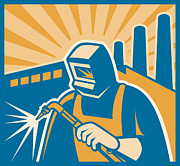 Woodcut Digital Art Posters - Welder Welding Factory Retro Woodcut Poster by Aloysius Patrimonio